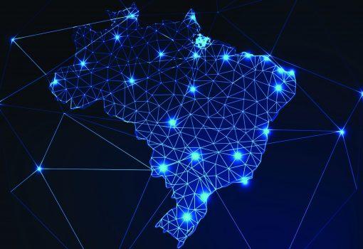 Mapa digital do Brasil com conexões virtuais entre os estados