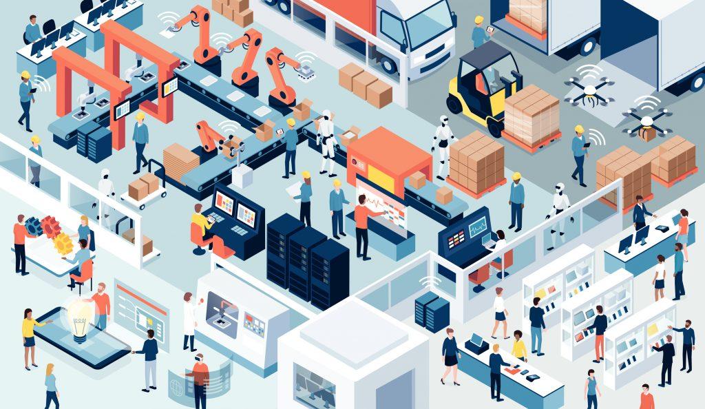 Indústria com trabalho automatizado